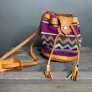 Handmade Vintage Boho Crochet Leather Bucket Bag